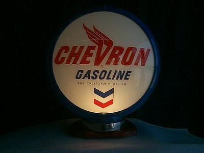 gas pump globe CHEVRON reproduction 2 GLASS LENS in a BLUE plastic body NEW NEW
