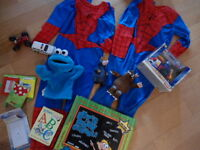 Moving sale   each$1   spiderman suit, cars, gap sweater,shoes