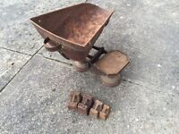 Set of antique grocers scales with weights