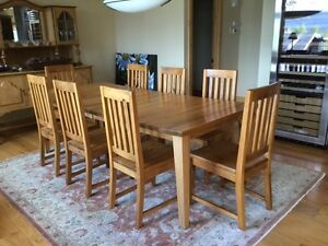 Solid Maple Dining Table with Eight Matching Chairs