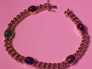 "#1324-14K Y/Gold 5 stone bracelet 8"" long 22.2 Grams-SELLING for $975.00-FREE SHIPPING IN CANADA ONLY-ACCEPT INTERAC PAY"