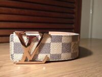 Louis Vuitton White with Gold Buckle Belt
