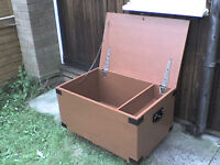 Large tough Wooden Storage Box with hinged Lid