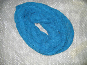 Beautiful Ocean Blue infinity scarf - light knit weave