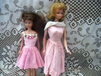 1965 ASH BLONDE FLIP MIDGE,BRUNETTE SKIPPER,DOLLY DRESSES,SHOES