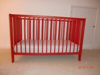 Red IKEA Cot