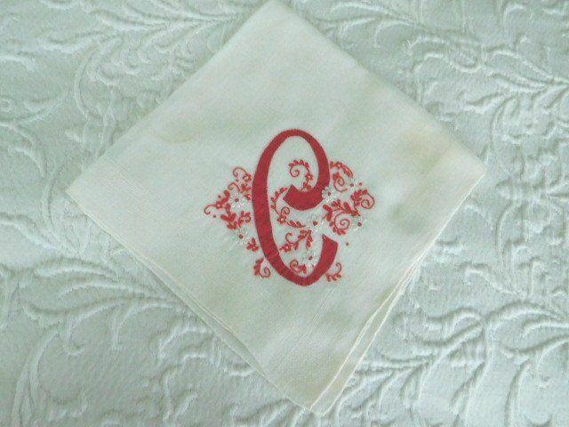RARE Cherry Red ANTIQUE Embroidered MONOGRAM C * Vintage Applique Hanky