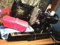 Vintage 1951 Singer Centennial 221k Featherweight electric portable sewing machine and accessories