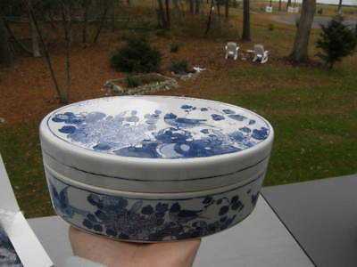 Royal Goedewaagen Holland Williamsburg Oval Box Blue/White Flowers and Birds