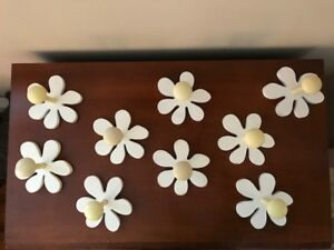 "Pottery Barn Kids Wood Flower Petal Peg Hook White Yellow 5""x5"""