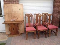 Farmhouse style large dining table and 6 chairs including 2 carvers