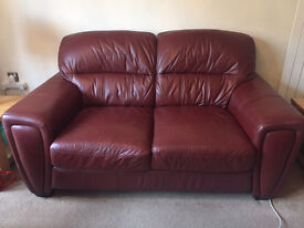 Excellent three piece red leather suite for sale