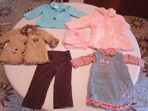 7 morceaux pour fille, 3 manteaux, robe et pantalon, 12 mois