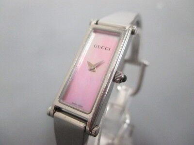 Auth GUCCI 1500L Silver Pink Women