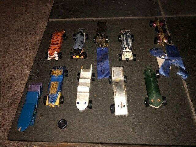 Lot of Ten (10) Vintage Custom Pinewood Derby Cars