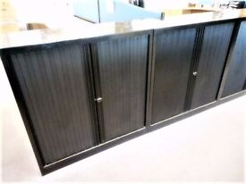 Black Metal Double Plastic Tambour Door Low Cupboard