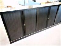 Black Metal Double Plastic Tambour Door Low Cupboard