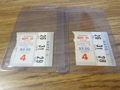 2-1966 Ticket Stubs Buffalo Bills vs. Houston Oilers 09/25/1966