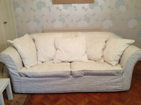 "Cream cloth Sofa bed Settee 3 seater, 4'6"" bed with 3""mattress on wooden/metal frame"