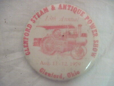 VINTAGE 1979 GLENFORS STEAM & ANTIQUE POWER SHOW  PIN PINBACK  COLLECTIBLE