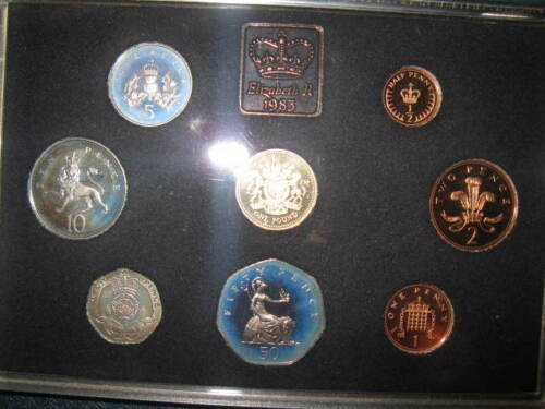 1983 United Kingdom Proof Set Coins 8pc Royal Mint Old Foreign BU UNC W/ COA GB