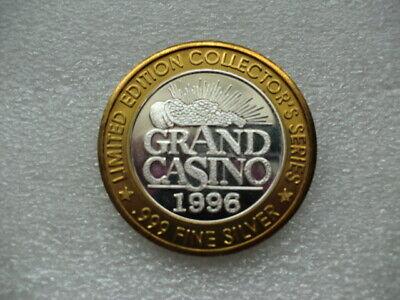 1996-Grand Casino/Seven Eleven Dice Coin-.999 Silver-Excellent Condition!