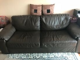 Brown leather used sofa