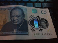 AA01 a very RARE early 5 pound note