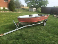 Great 14 foot Boat with Trailer and (9.8HP Motor NEW) $3600