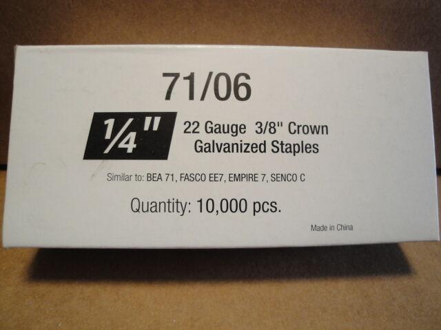 "Standard Upholstery Staples 71 Series 3/8"" Crown 1/4"" Leg Galvanized 22 Gauge"