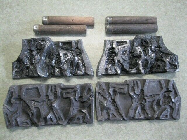 Lead Toy Mold Figures, Cowboys pistol packing, roping, rifles raised machete 6