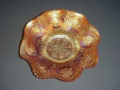 Fenton Marigold Carnival Glass Dragon Lotus Bowl