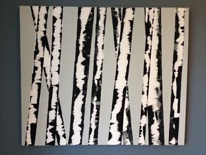 Birch trees handmade canvass painting