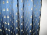 BEAUTIFUL, INTERLINED CURTAINS IN A DARK BLUE, MONKWELL FABRIC
