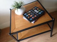 Large Square Iron and Wood Side Table / Coffee Table