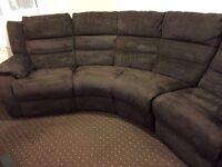 Brown swede corner recliner