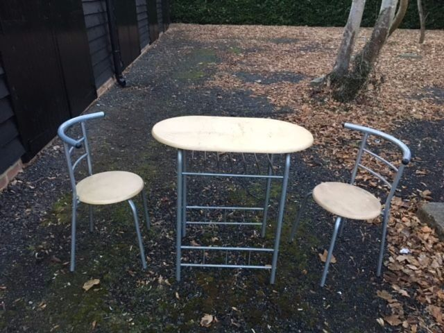 tablechairsin Crawley, West SussexGumtree - Table & chairs Wooden tops Steel frame suit small/studio flat Or kitchen diner. in good condition