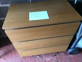 Chest of drawers, 3 drawers, oak, ikea, fully assembled, good condition. Sizes on photograph.