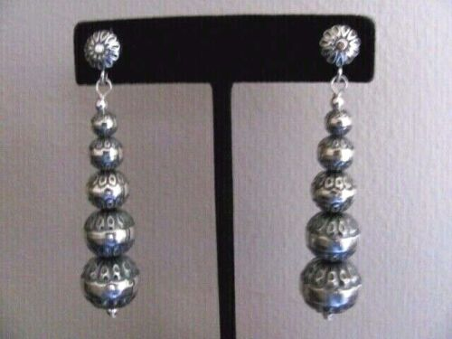 NEW CAROLYN POLLACK AW STERLING NATIVE PEARLS GRADUATED LONG DANGLE EARRINGS