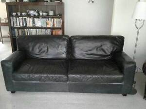 Moran 3 seater Club leather sofa and ottoman Warradale Marion Area Preview
