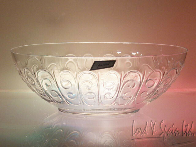"Baccarat France Art Glass Large 13 3/4"" Oval Embossed Scrolls Center Bowl"