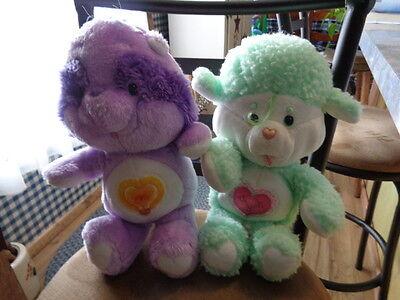 2 VINTAGE Care Bears- STUFFED PLUSH - RACCOON / LAMB