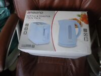 Brand new matching kettle and toaster. Sky blue colour
