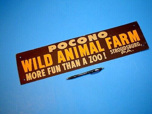 VTG 1950s POCONO WILD ANIMAL FARM STROUDSBURG PA TIE-ON CARDBOARD BUMPER STICKER