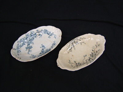 """Lot of 2 Vintage Wm Grindley """"Ideal"""" Relish Trays 8 1/4"""" Length"""