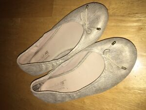 Size 3 youth/  girls gold flat shoes
