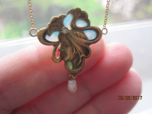 ART NOUVEAU PLIQUE A JOUR 14K PEARL,DIAMOND & ENAMEL LADY PENDANT NECKLACE