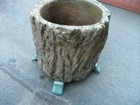Plant Pot . Made of plastic ( look like tree trunk ) . Size : H=23cm , Diameter=26cm