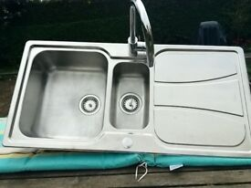 Virtually New Carron Phoenix Stainless Steel, Twin Bowl, Inset Sink with Savoy Swan Neck Mixer Tap