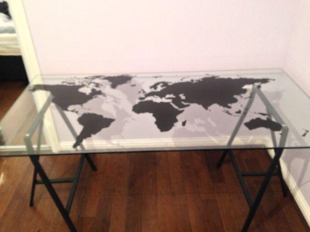 Glass world map desk in nottingham city centre nottinghamshire glass world map desk gumiabroncs Gallery